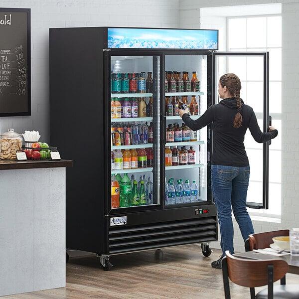 "Avantco GDC-49-HC 53"" Black Swing Glass Door Merchandiser Refrigerator with LED Lighting Main Image 7"