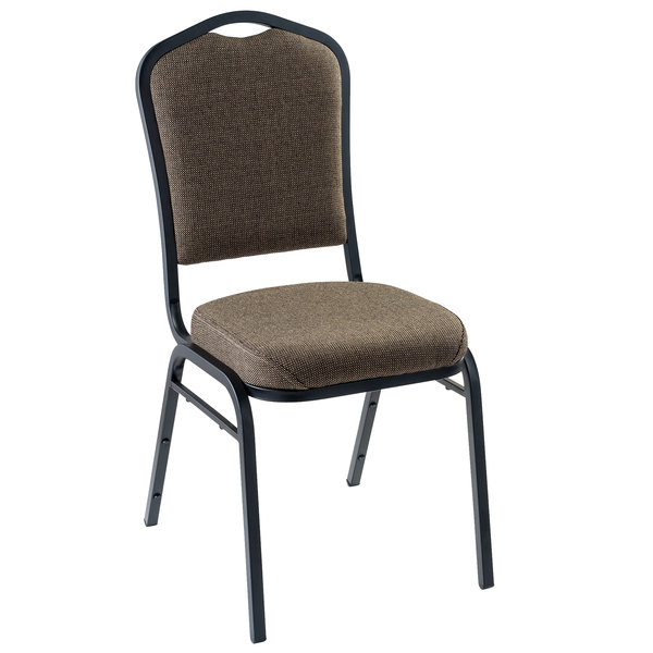 "Multiples of 2 Chairs National Public Seating 9378-BT Natural Taupe Fabric Stackable Chair with 2"" Padded Seat"