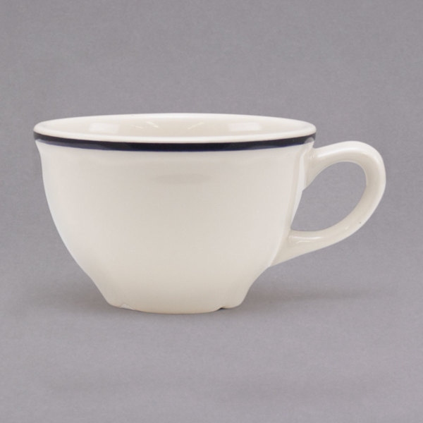 Homer Laughlin by Steelite International HLC508847 Styleline Black 7.25 oz. Scalloped China Cup - 36/Case Main Image 1