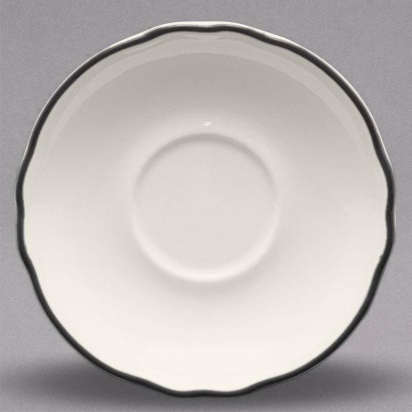 "Homer Laughlin by Steelite International HLC580847 Styleline Black 5 5/8"" Scalloped China Saucer - 36/Case Main Image 1"