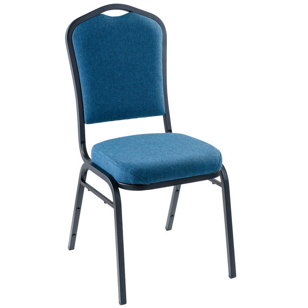 """Multiples of 2 Chairs National Public Seating 9374-BT Natural Blue Fabric Stackable Chair with 2"""" Padded Seat"""
