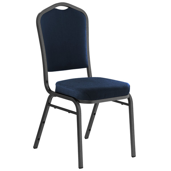 "Multiples of 2 Chairs National Public Seating 9354-SV Midnight Blue Fabric Stackable Chair with 2"" Padded Seat"