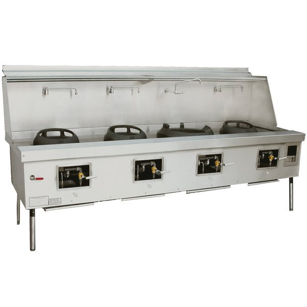 Town Y-4-SS-N York™ Four Chamber Natural Gas Wok Range with (3) 13