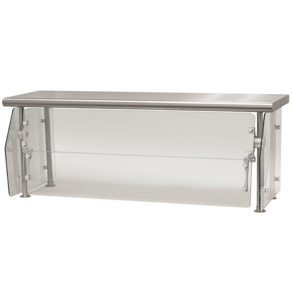 "Advance Tabco DSG-15S-60 Sleek Shields Multi-Use Food Shield with Stainless Steel Shelf - 60"" x 15"" x 18"""
