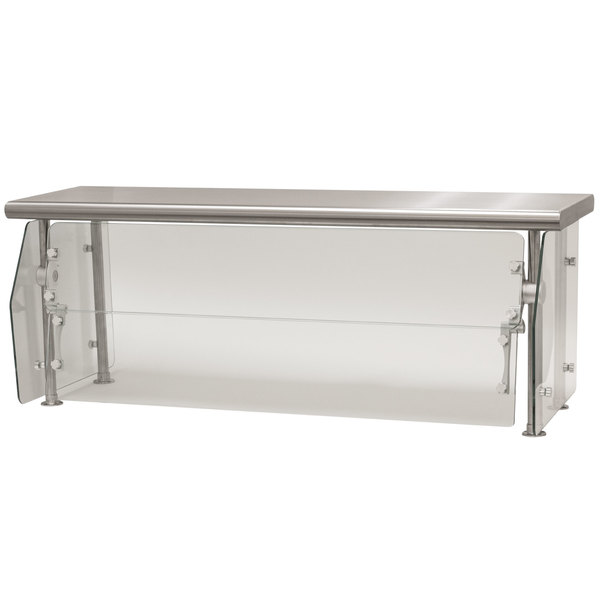 "Advance Tabco DSG-12S-132 Sleek Shields Multi-Use Food Shield with Stainless Steel Shelf - 132"" x 12"" x 18"""