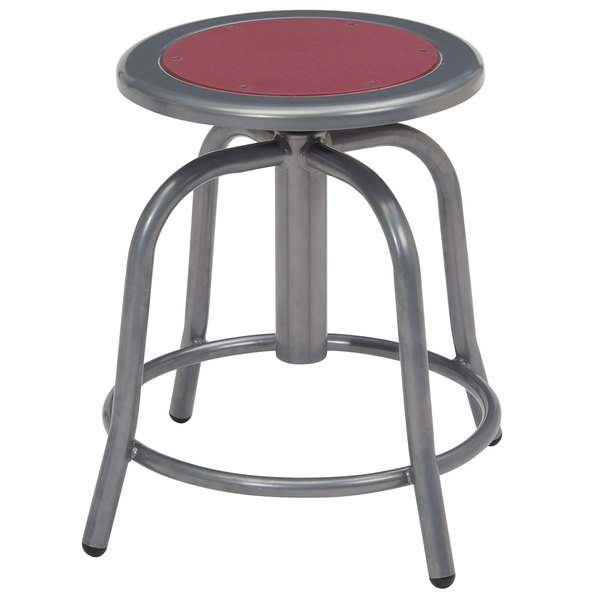 """National Public Seating 6818-02 Gray 18"""" - 24"""" Adjustable Swivel Lab Stool with Burgundy Steel Seat Main Image 1"""