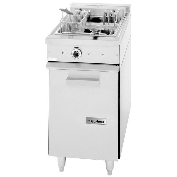 Garland 36ES11 30 lb. Range Match Electric Floor Fryer - 240V, 3 Phase, on