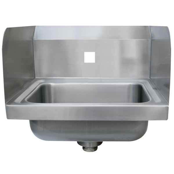 """Advance Tabco 7-PS-71-EC-SPNF 17"""" x 15 1/4"""" Wall Mounted Hand Sink with Side Splashes for 1 Faucet Main Image 1"""