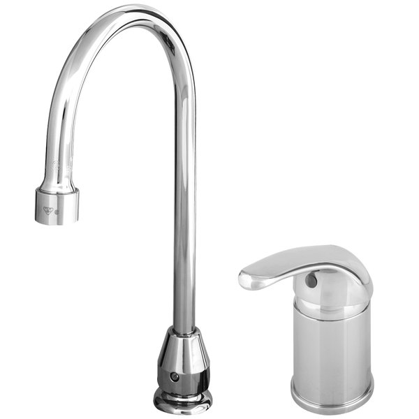 """T&S B-2742-VF12 Deck Mounted Single Lever Faucet with 6"""" Swivel Gooseneck Nozzle, 1.2 GPM Aerator, and Remote Control Base Main Image 1"""