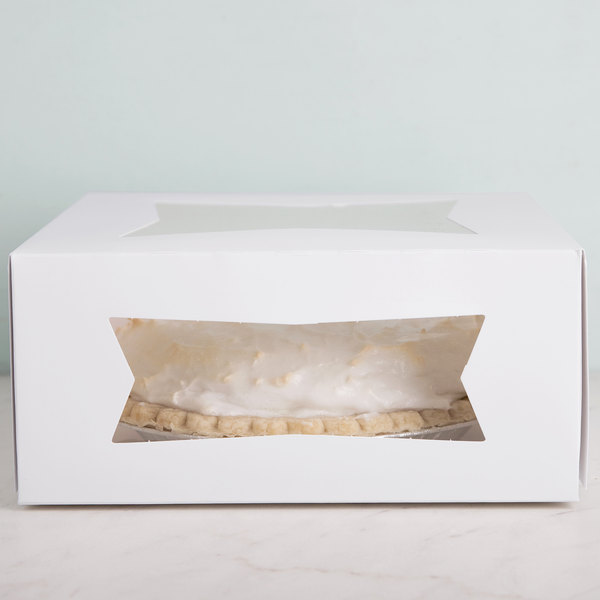 "Southern Champion 24293 9"" x 9"" x 4"" White Auto-Popup Window Cake / Bakery Box - 150/Bundle"