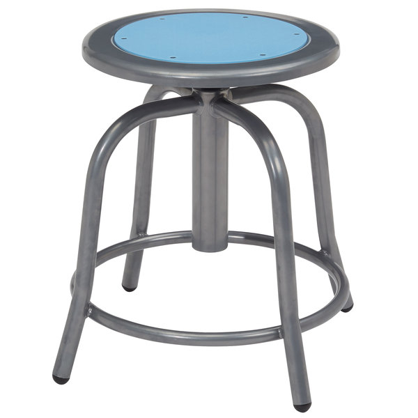 Swell National Public Seating 6805 02 Gray 18 24 Adjustable Swivel Lab Stool With Blueberry Steel Seat Unemploymentrelief Wooden Chair Designs For Living Room Unemploymentrelieforg