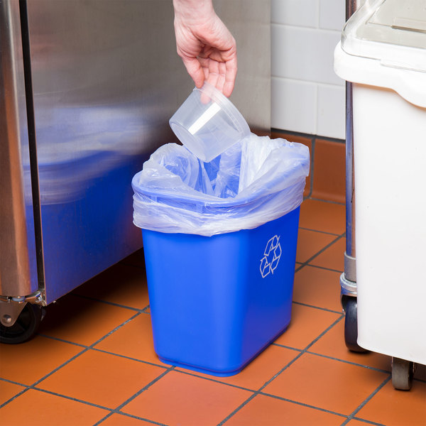 Lavex Janitorial 13 Qt. / 3 Gallon Blue Rectangular Recycling Wastebasket / Trash Can Main Image 2