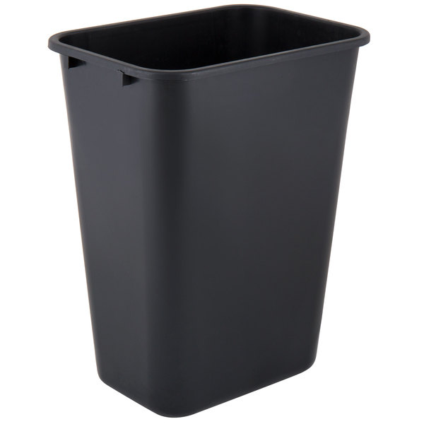 Lavex Janitorial 41 Qt. / 10 Gallon Black Rectangular Wastebasket / Trash Can