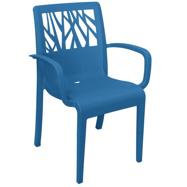 Case of 16 Grosfillex US200680 Vegetal Denim Blue Stacking Arm Chair
