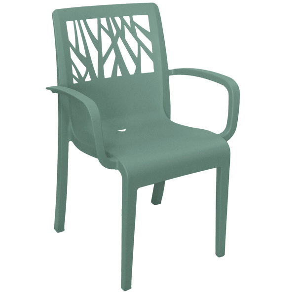 Pack of 4 Grosfillex US200721 Vegetal Sage Stacking Arm Chair
