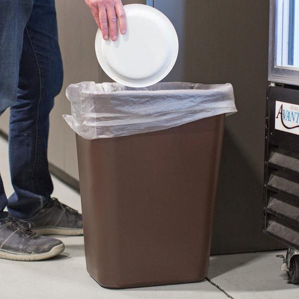 Lavex Janitorial 41 Qt. / 10 Gallon Brown Rectangular Wastebasket / Trash Can
