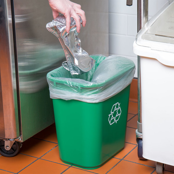 Lavex Janitorial 28 Qt. / 7 Gallon Green Rectangular Recycling Wastebasket / Trash Can Main Image 2