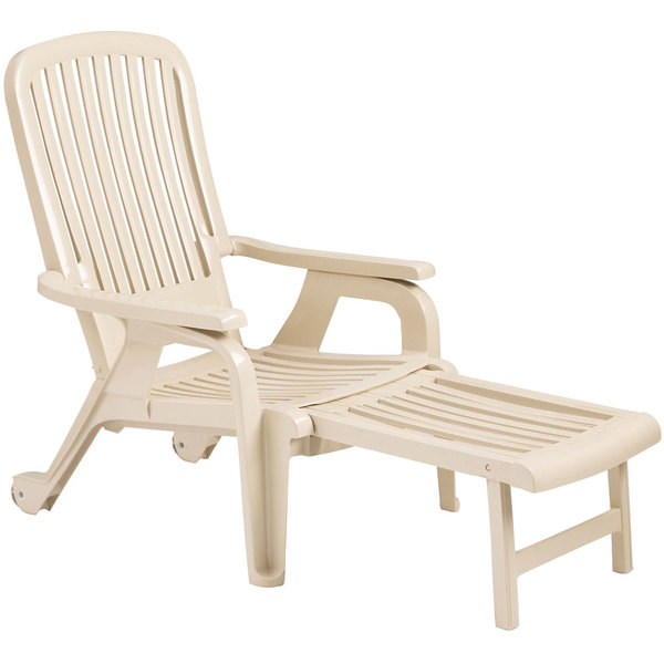 Pack of 10 Grosfillex 47658066 Sandstone Bahia Stacking Resin Chair with Pull-Out Footrest