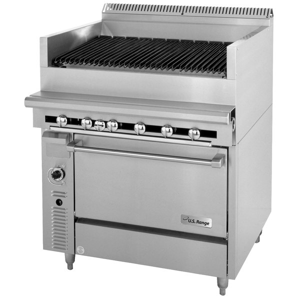 "U. S. Range C836-36ARC Liquid Propane 36"" Cuisine Series Range Match Radiant Charbroiler with Convection Oven Base - 143,000 BTU Main Image 1"