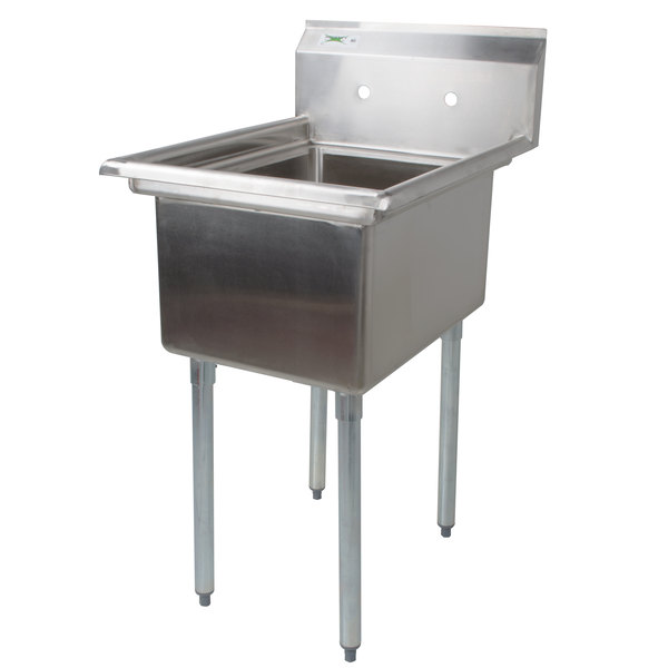 "Regency 22"" 16-Gauge Stainless Steel One Compartment Commercial Sink without Drainboard - 17"" x 17"" x 12"" Bowl"
