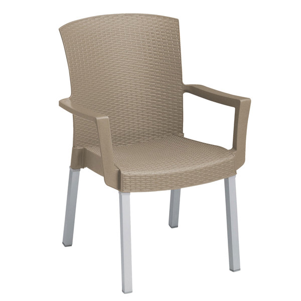 Pack of 4 Grosfillex 45903181 Havana Taupe Classic Stacking Resin Arm Chair