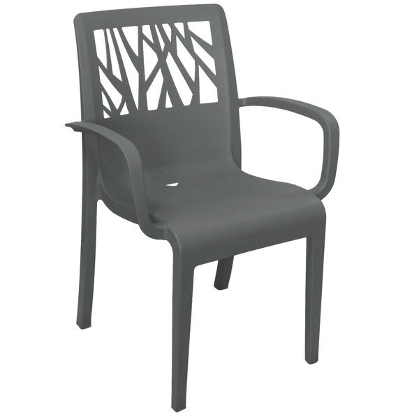 Pack of 4 Grosfillex US201002 Vegetal Charcoal Gray Stacking Arm Chair