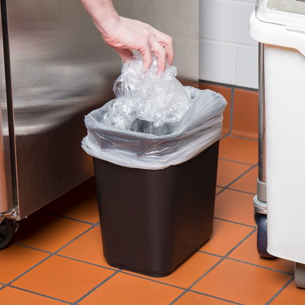Lavex Janitorial 13 Qt. / 3 Gallon Black Rectangular Wastebasket / Trash Can Main Image 2