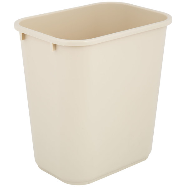 Lavex Janitorial 28 Qt. / 7 Gallon Beige Rectangular Wastebasket / Trash Can