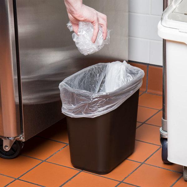 Lavex Janitorial 13 Qt. / 3 Gallon Brown Rectangular Wastebasket / Trash Can
