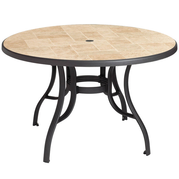 Grosfillex Us527102 Louisiana 48 Toscana And Charcoal Round Resin Pedestal Table With Umbrella Hole