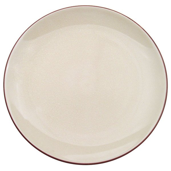 """CAC 666-16-W Japanese Style 10"""" China Coupe Plate - Black Non-Glare Glaze / Creamy White - 12/Case Main Image 1"""