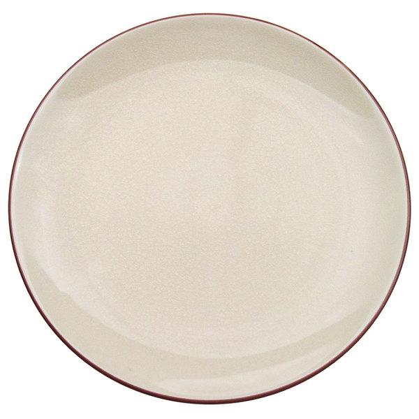 "CAC 666-16-W Japanese Style 10"" China Coupe Plate - Black Non-Glare Glaze / Creamy White - 12/Case"