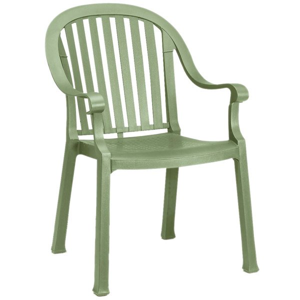 Pack of 4 Grosfillex US650721 Colombo Sage Stacking Resin Armchair