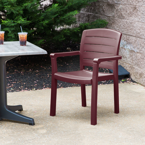 Case of 12 Grosfillex US119067 Acadia Bordeaux Classic Stacking Resin Armchair