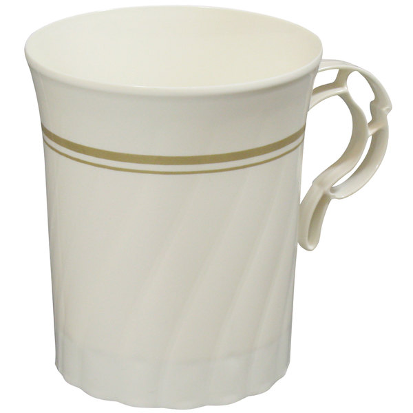 WNA Comet CWM8192IPREM 8 oz. Ivory Plastic Masterpiece Coffee Cup with Gold Accents - 192/Case