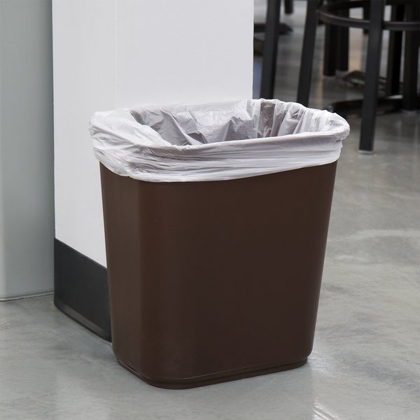 Lavex Janitorial 28 Qt 7 Gallon Brown Rectangular Wastebasket Trash Can