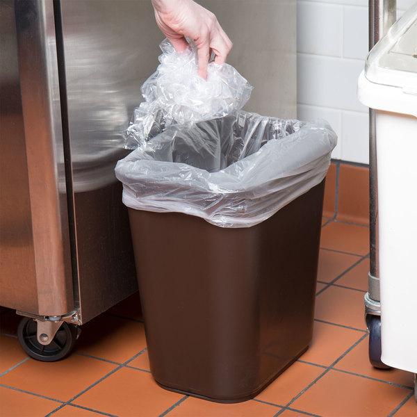 Lavex Janitorial 28 Qt. / 7 Gallon Brown Rectangular Wastebasket / Trash Can Main Image 2