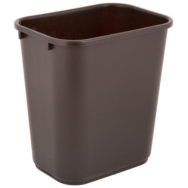 Lavex Janitorial 28 Qt. / 7 Gallon Brown Rectangular Wastebasket / Trash Can