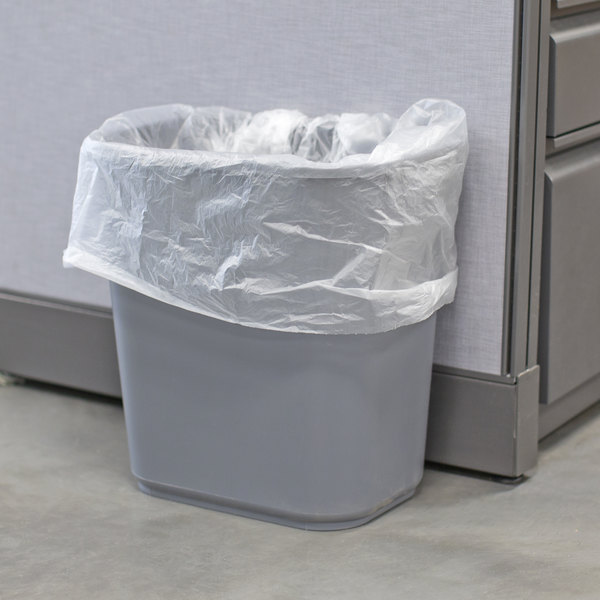 Lavex Janitorial 28 Qt 7 Gallon Gray Rectangular Wastebasket Trash Can