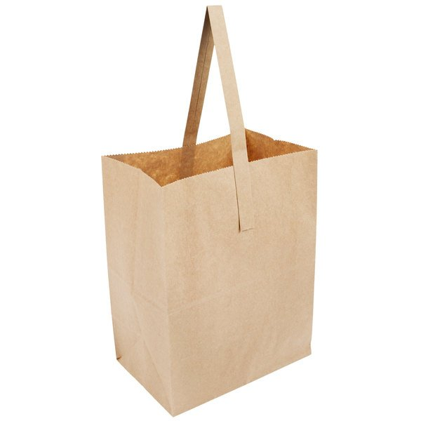 1 Peck Natural Brown Kraft Paper Produce Customizable Market Stand Bag With Handle 500 Case
