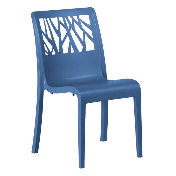 Pack of 4 Grosfillex US116680 Vegetal Denim Blue Stacking Side Chair