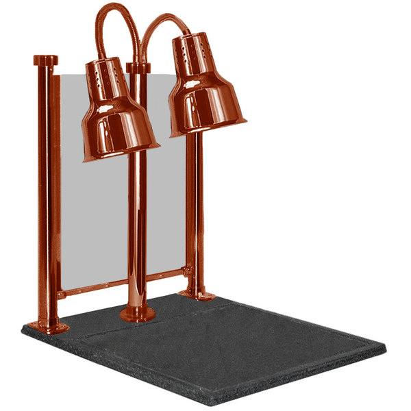 """Hanson Heat Lamps DLM/600/CC/ST/SC Dual Bulb 20"""" x 24"""" Smoked Copper Carving Station with Sneeze Guard Main Image 1"""