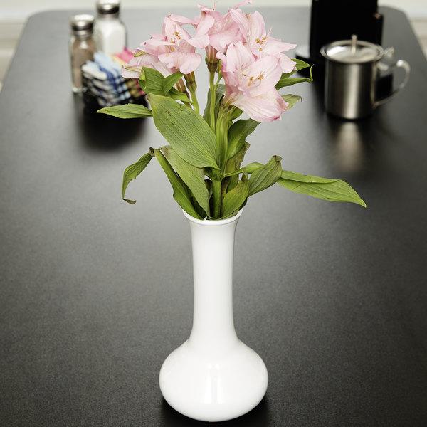 """7 1/2"""" White Plastic Bud Vase - 6/Pack"""