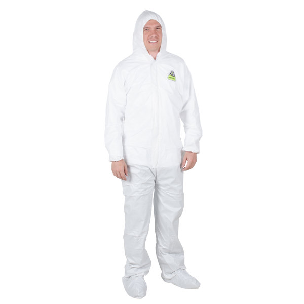 White Disposable Microporous Coveralls with Hood - XL Main Image 1
