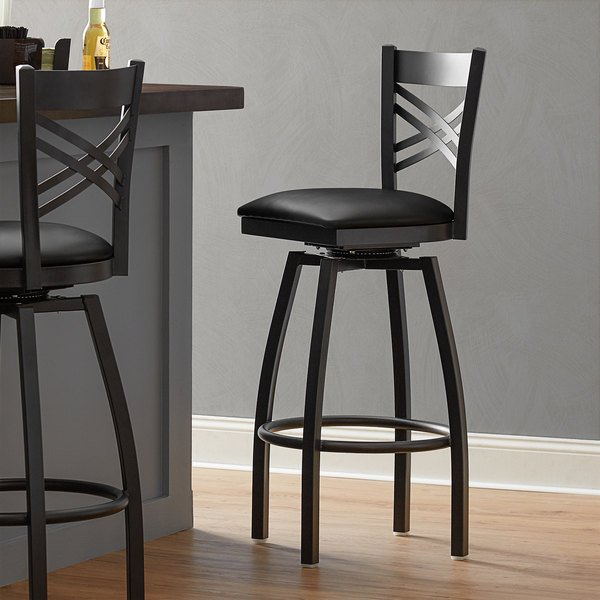 Lancaster Table & Seating Cross Back Bar Height Black Swivel Chair with Black Vinyl Seat Main Image 4
