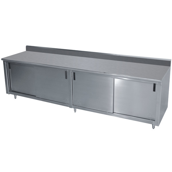 """Advance Tabco CK-SS-369M 36"""" x 108"""" 14 Gauge Work Table with Cabinet Base and Mid Shelf - 5"""" Backsplash"""