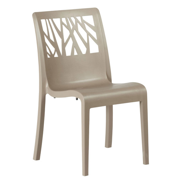 Case of 16 Grosfillex US116181 Vegetal Taupe Stacking Side Chair
