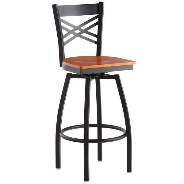Awe Inspiring Lancaster Table Seating Cross Back Bar Height Black Swivel Chair With Cherry Wood Seat Squirreltailoven Fun Painted Chair Ideas Images Squirreltailovenorg