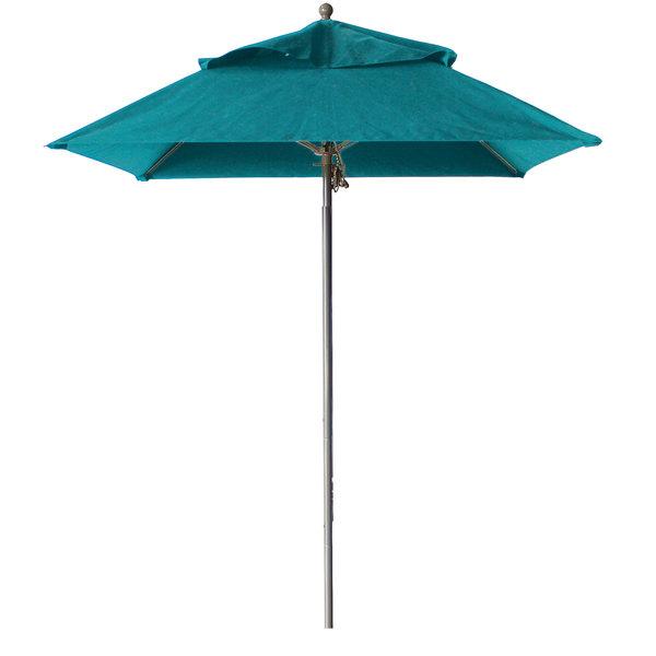 "Grosfillex 98664131 Windmaster 6 1/2' Square Turquoise Fiberglass Umbrella with 1 1/2"" Aluminum Pole Main Image 1"