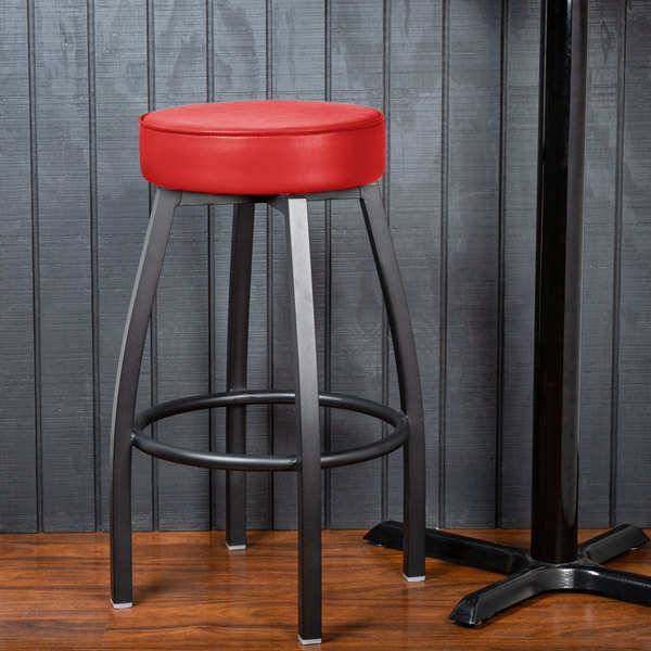 Lancaster Table Seating Black Backless Barstool With Red Swivel Upholstered Seat
